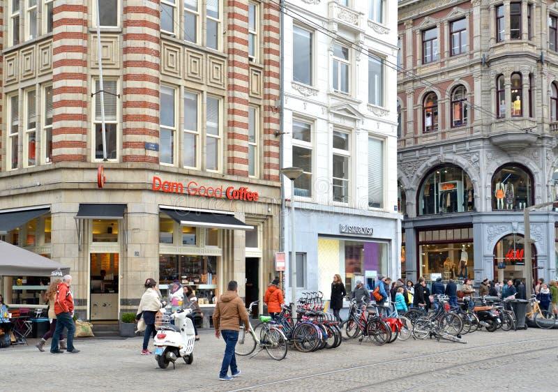 Quadrato della diga, Amsterdam, Paesi Bassi immagine stock libera da diritti