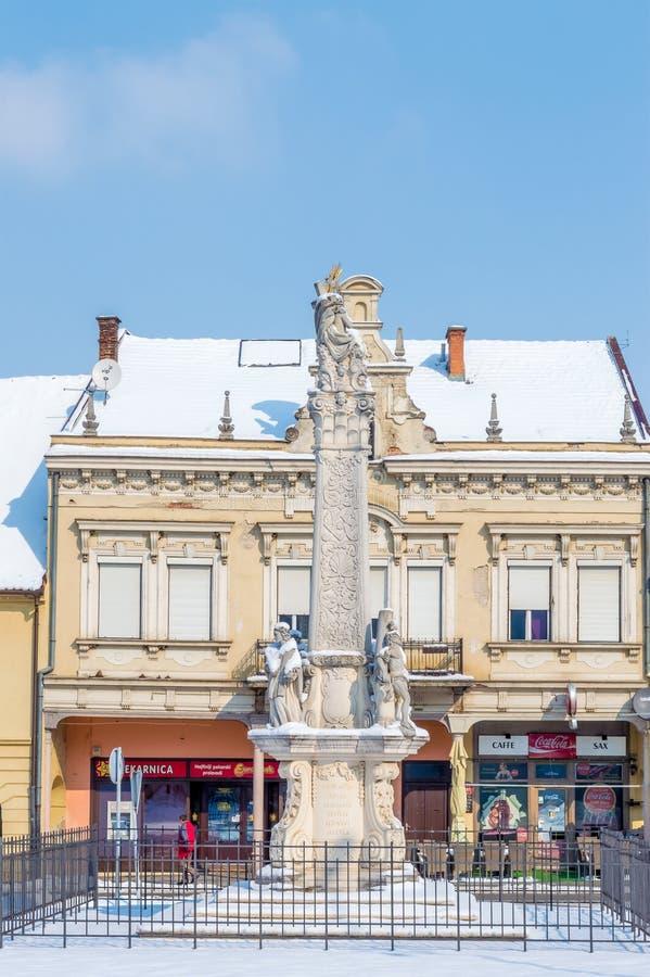 Quadrato della trinità santa in Pozega fotografie stock libere da diritti