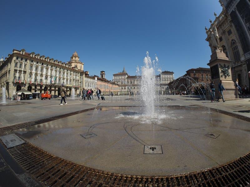 Quadrato di Castello della piazza a Torino fotografia stock libera da diritti