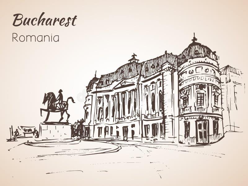 Quadrato di città con lo schizzo del monumento del cavallo Bucarest, Romania royalty illustrazione gratis