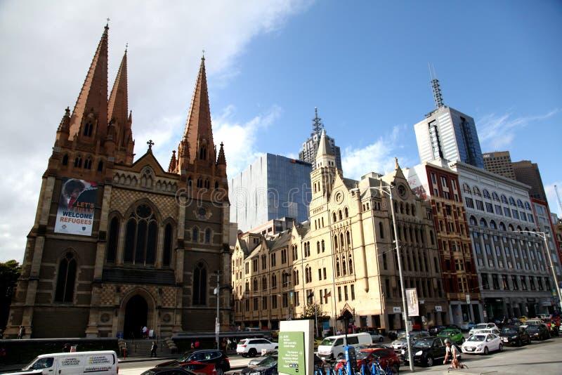 Quadrato di federazione di Melbourne di vista della città di Melbourn @ immagine stock libera da diritti