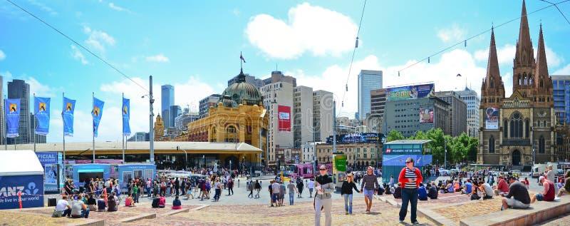 Quadrato di federazione nel cetre della città di Melbourne fotografie stock