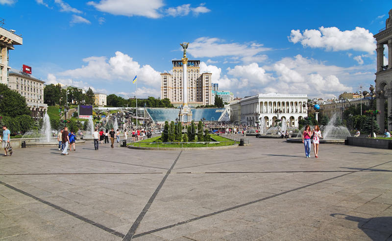 Quadrato di indipendenza a Kiev fotografia stock
