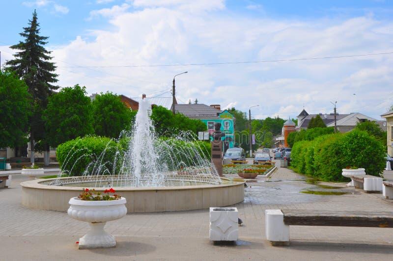 Quadrato di Lenin nel centro di Tarusa, regione di Kaluga, Russia fotografie stock