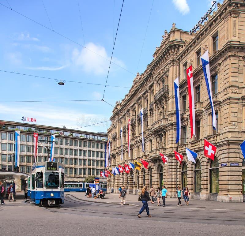 Quadrato di Paradeplatz a Zurigo, Svizzera immagine stock libera da diritti