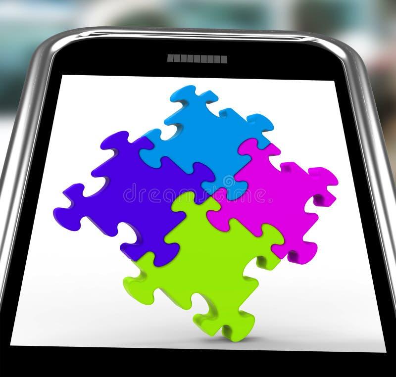 Quadrato di puzzle su unità di manifestazioni di Smartphone illustrazione di stock