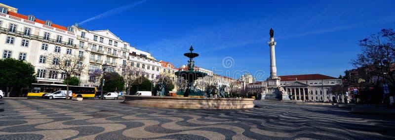 Quadrato di Rossio, Lisbona, Portogallo fotografia stock libera da diritti