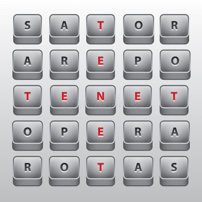Quadrato di Sator. Palindrome famoso del sator illustrazione di stock