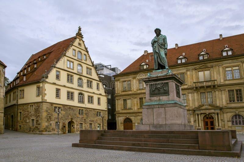 Quadrato di Schiller Monumento al grande scrittore Schiller uno delle destinazioni famose a Stuttgart fotografia stock