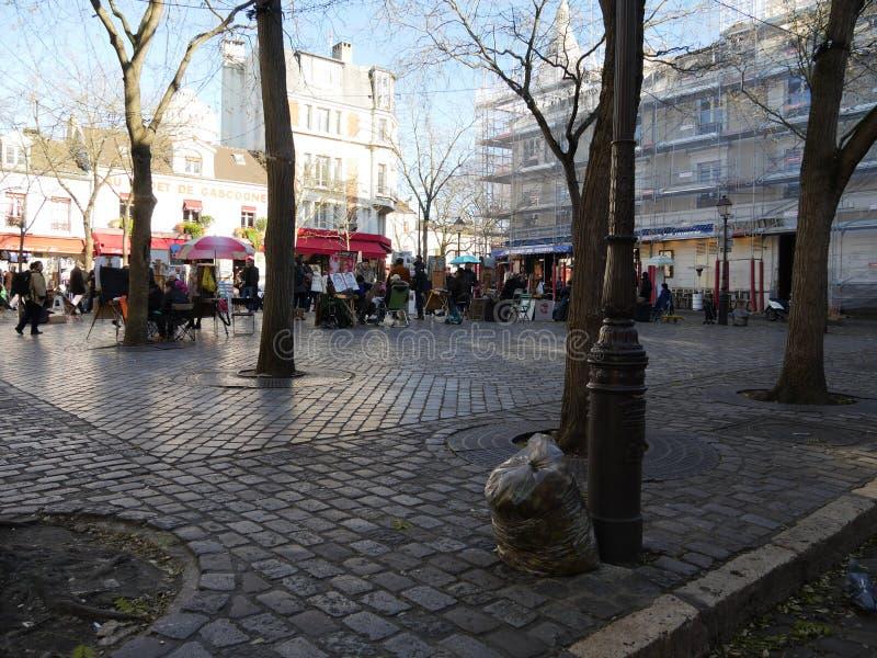 Quadrato di Tertre in Montmartre, Parigi immagini stock