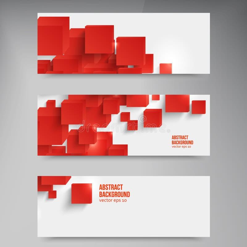 Quadrato di vettore. Rosso astratto della carta del fondo. illustrazione di stock