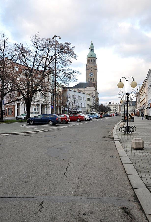 Quadrato e città Prostejov, repubblica Ceca, Europa fotografia stock