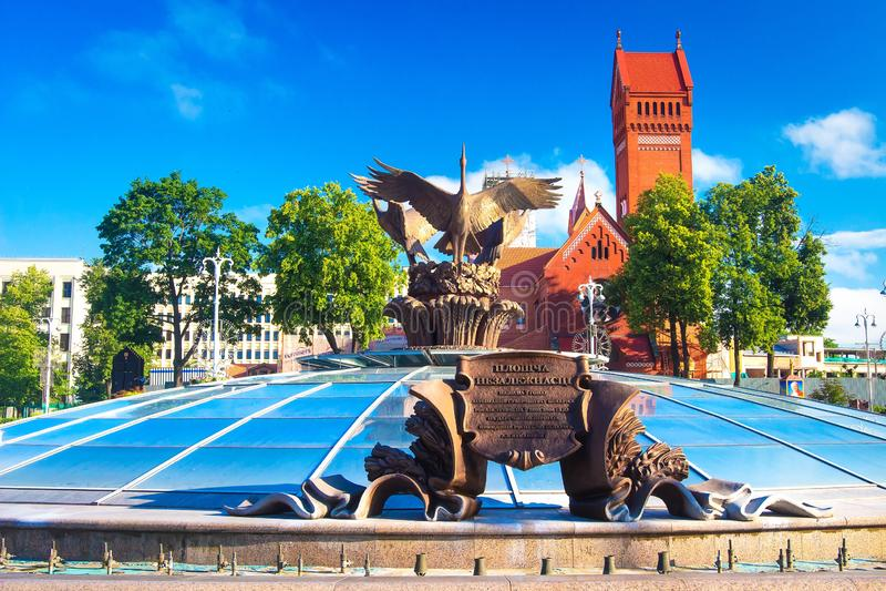 Quadrato il giorno soleggiato, Bielorussia di indipendenza di Minsk fotografia stock libera da diritti