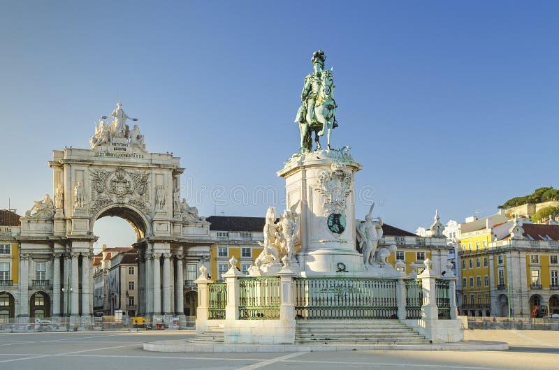 Quadrato Lisbona Portogallo di comercio di Praca fotografie stock libere da diritti