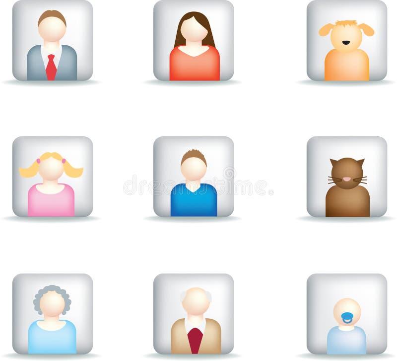 Quadrato moderno delle icone della famiglia illustrazione di stock