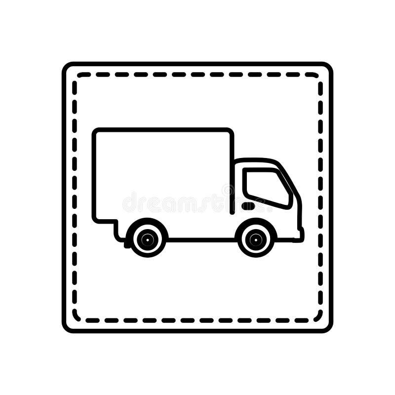quadrato monocromatico di contorno e linea punteggiata con il camion illustrazione di stock