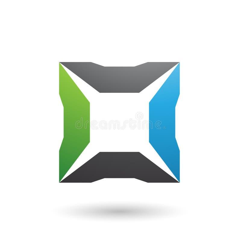 Quadrato nero e verde blu con l'illustrazione di vettore delle punte illustrazione di stock