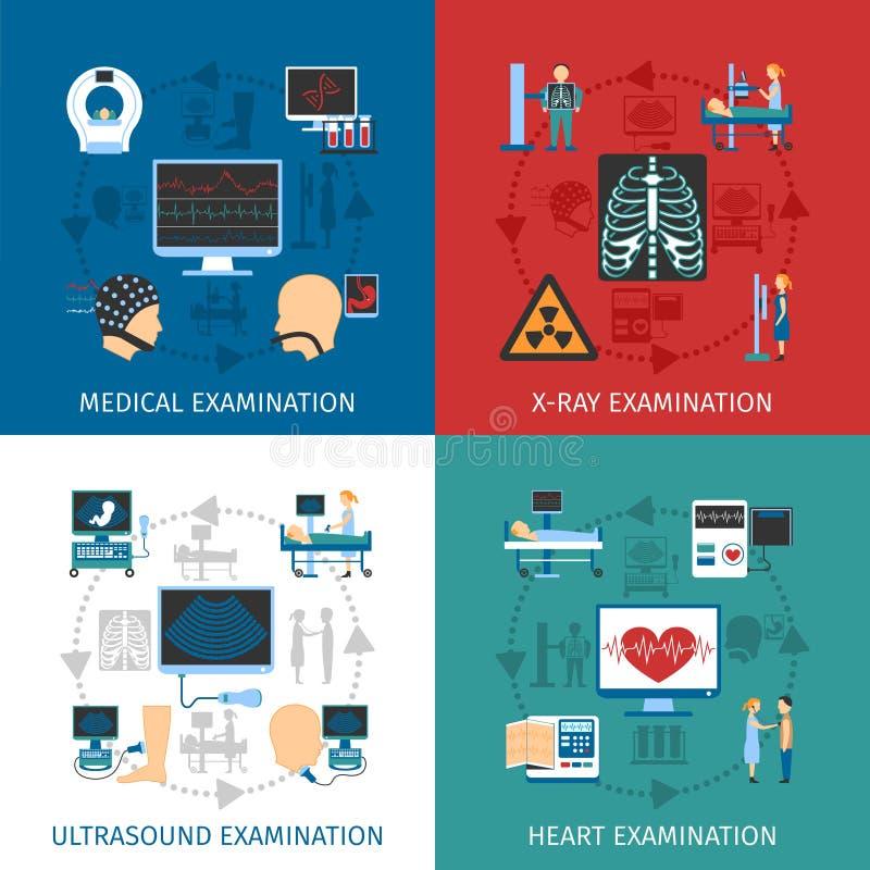 Quadrato piano delle icone dell'esame medico 4 royalty illustrazione gratis