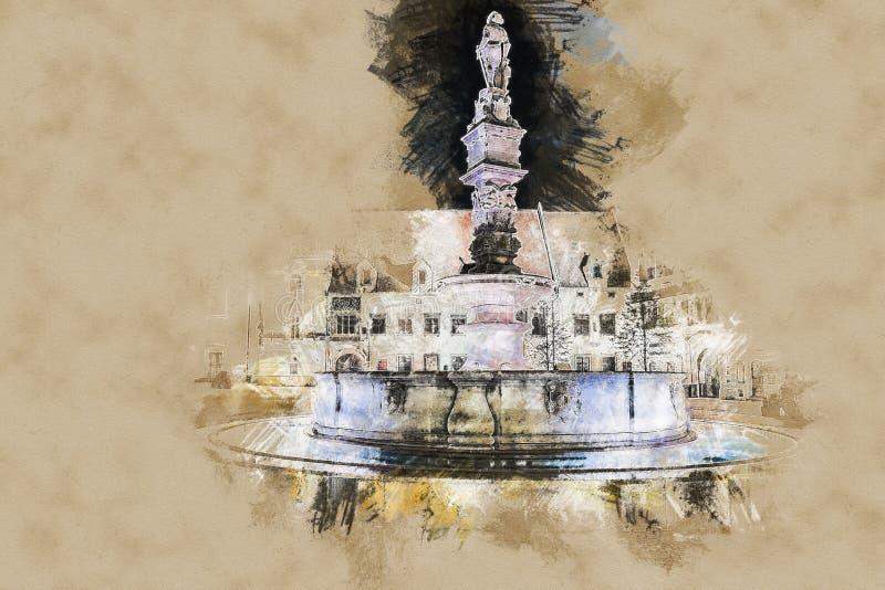 Quadrato principale di Bratislava, Slovacchia royalty illustrazione gratis