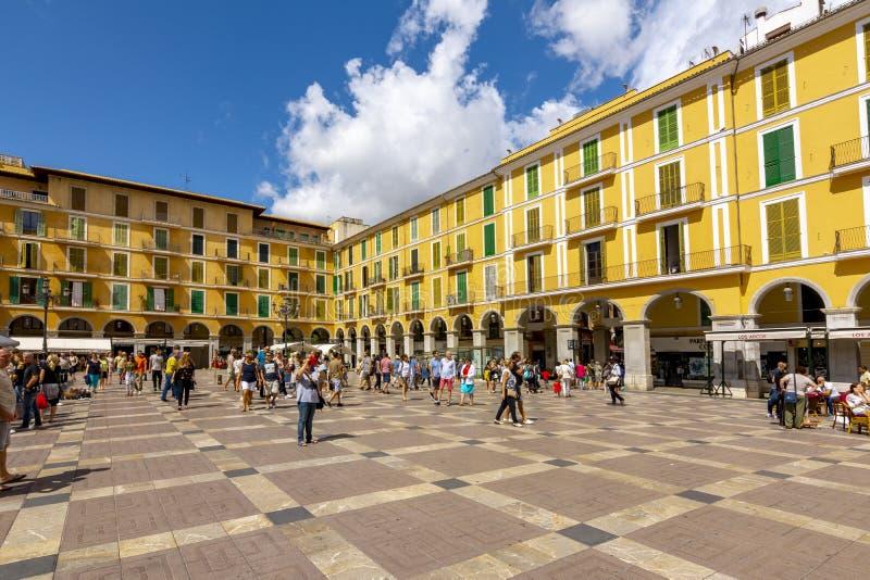 Quadrato principale di sindaco della plaza in Palma, Mallorca, Spagna fotografia stock libera da diritti