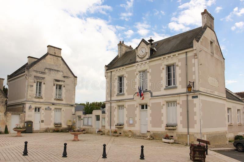 Quadrato principale e municipio Chenonceau france fotografia stock libera da diritti