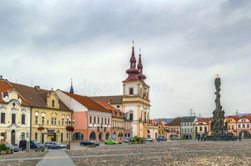 Quadrato principale in Kadan, repubblica Ceca fotografia stock libera da diritti