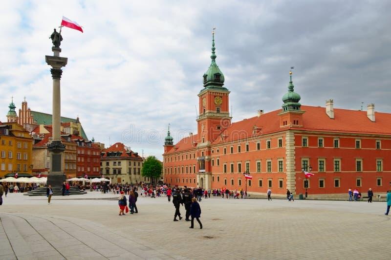 Quadrato reale del castello in Warsaw's Città Vecchia, Polonia fotografie stock libere da diritti