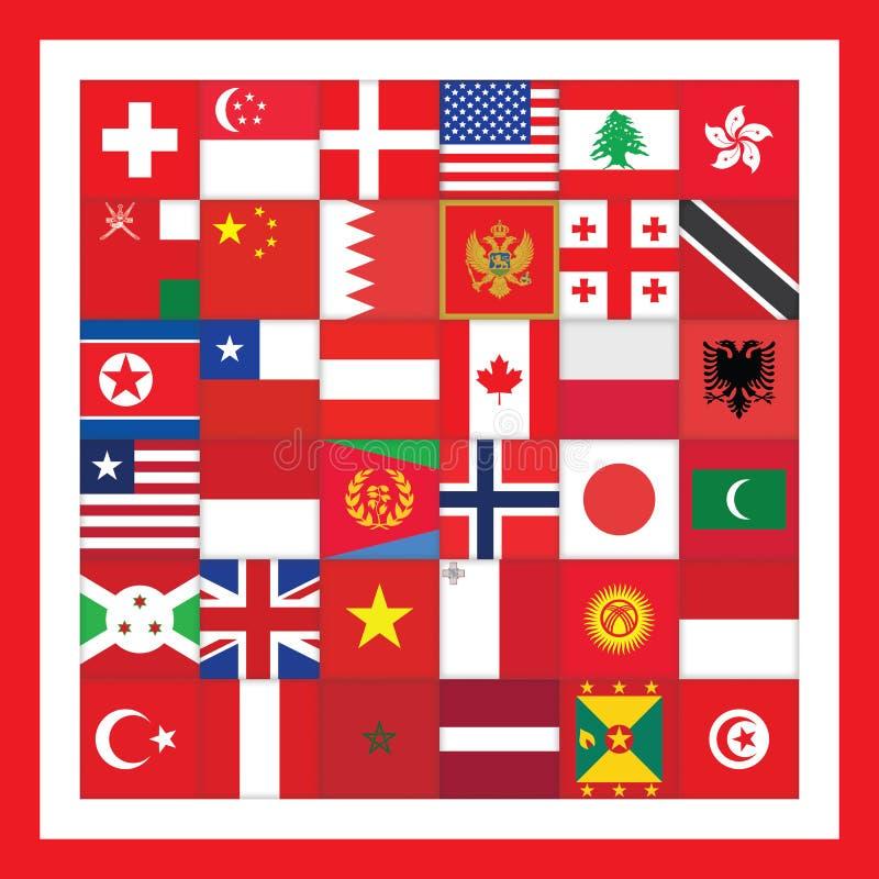 Quadrato rosso con le bandiere illustrazione vettoriale