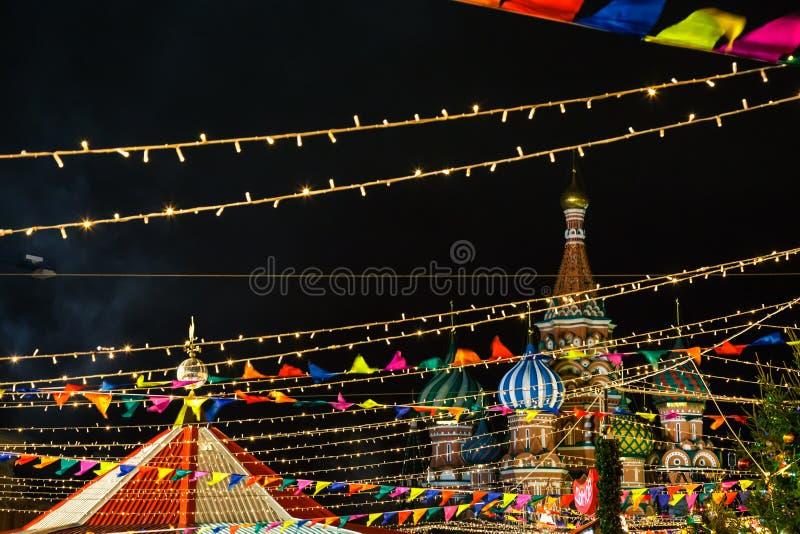 Quadrato rosso di Natale a Mosca, Russia fotografia stock libera da diritti