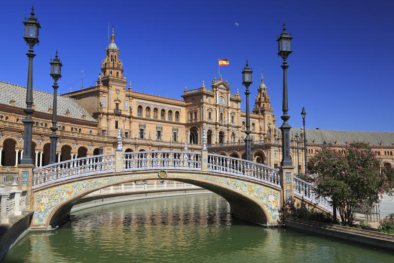Quadrato spagnolo, Plaza de Espana a Sevilla immagine stock libera da diritti
