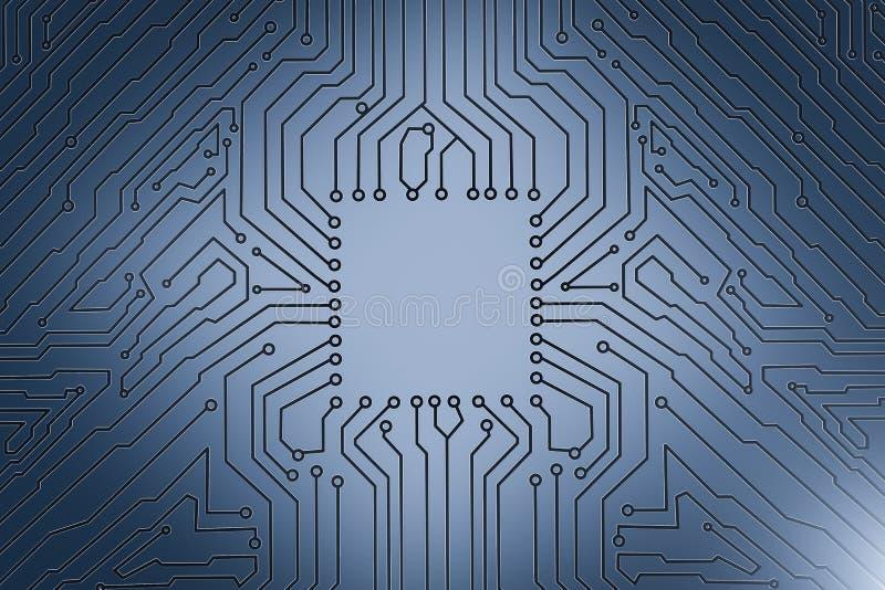 Quadrato vuoto sul circuito blu illustrazione di stock