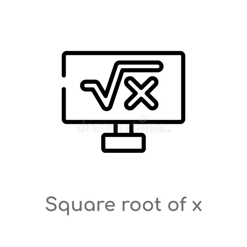 Quadratwurzel des Entwurfs der x-Vektorikone lokalisiertes schwarzes einfaches Linienelementillustration vom Zeichenkonzept Edita lizenzfreie abbildung