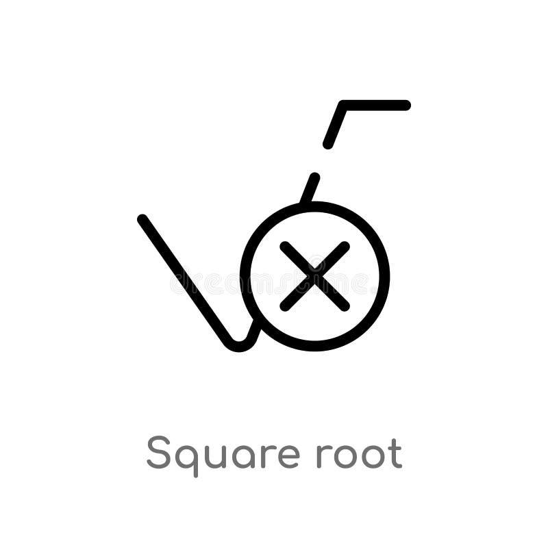 Quadratwurzel-Vektorikone des Entwurfs lokalisiertes schwarzes einfaches Linienelementillustration vom Benutzerschnittstellenkonz lizenzfreie abbildung