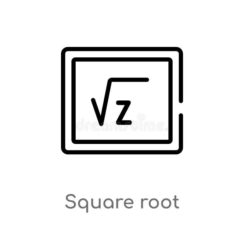 Quadratwurzel-Vektorikone des Entwurfs lokalisiertes schwarzes einfaches Linienelementillustration vom Ausbildungskonzept Editabl stock abbildung