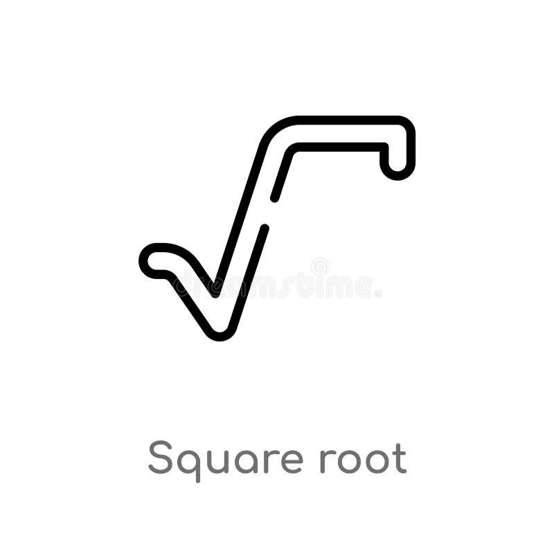 Quadratwurzel-Vektorikone des Entwurfs lokalisiertes schwarzes einfaches Linienelementillustration vom Zeichenkonzept editable Ve vektor abbildung