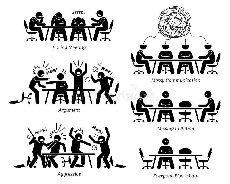 Quadri che hanno riunione e discussione inefficaci ed inefficienti illustrazione vettoriale