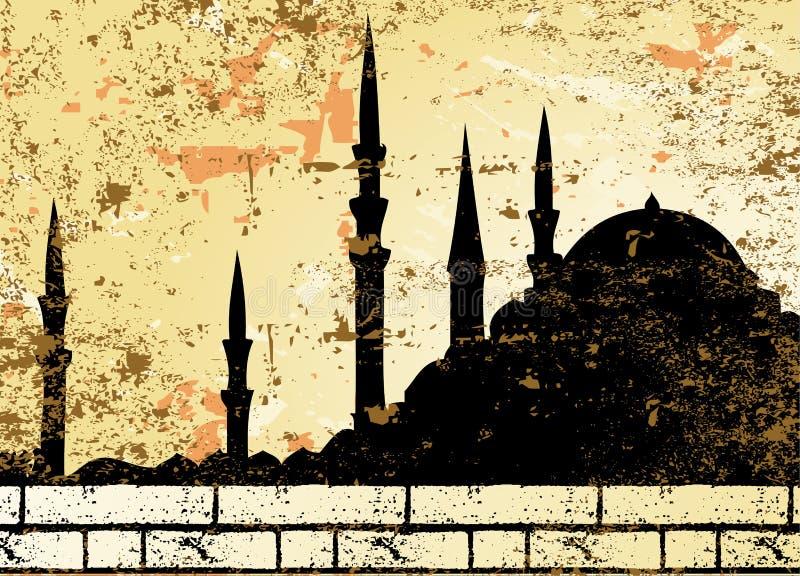 Quadriculação da silhueta da mesquita do grunge do vintage ilustração stock