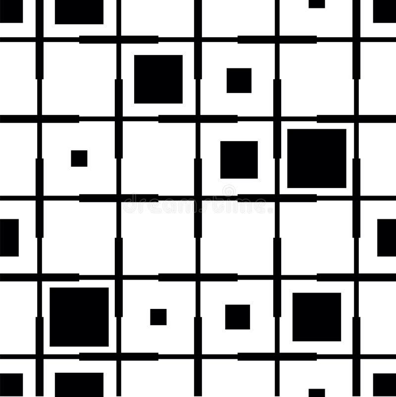 Quadriculado do teste padrão preto e branco dos quadrados Cor preto e branco do fundo geométrico Fundo quadrado dentro ilustração stock