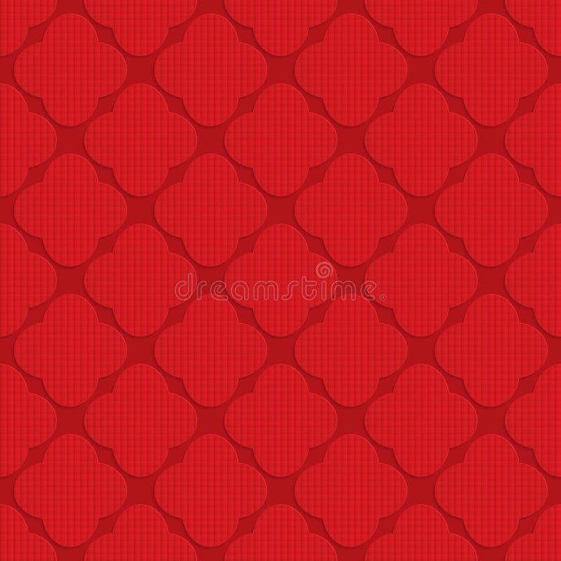 Quadriculado vermelho arredondado quatro folhas ilustração stock