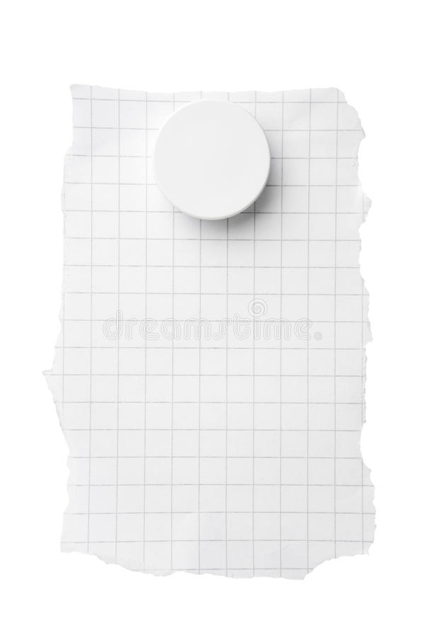 Quadriertes Papier mit Magneten stockbilder