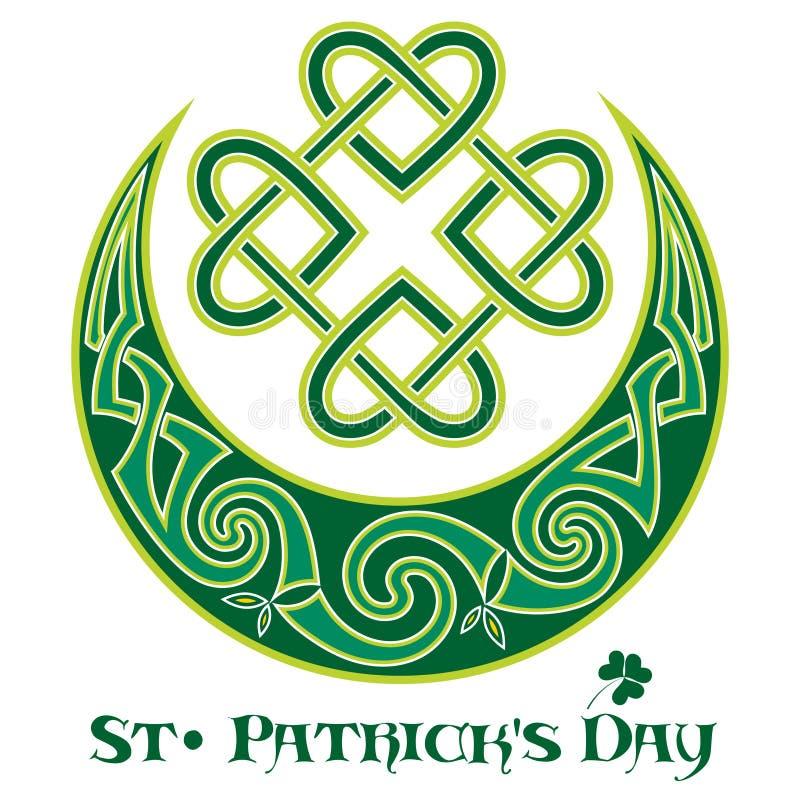 Quadrifoglio Simbolo irlandese nel di stile celtico per la festività di St Patrick royalty illustrazione gratis