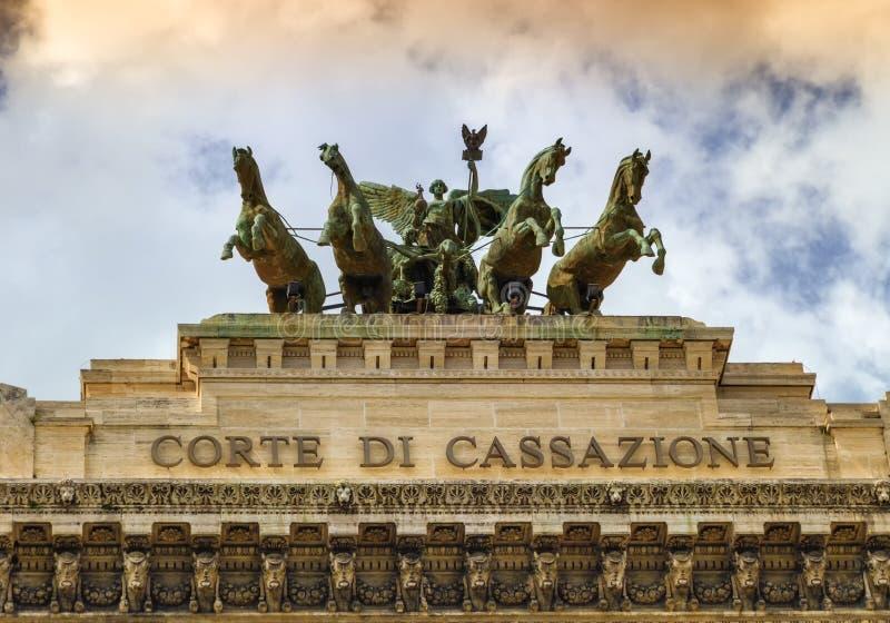 Quadriga sur Corte di cassazione, la court suprême de la cassation, Rome, Italie photographie stock libre de droits