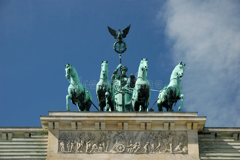 Quadriga on Top of Brandenburg stock image