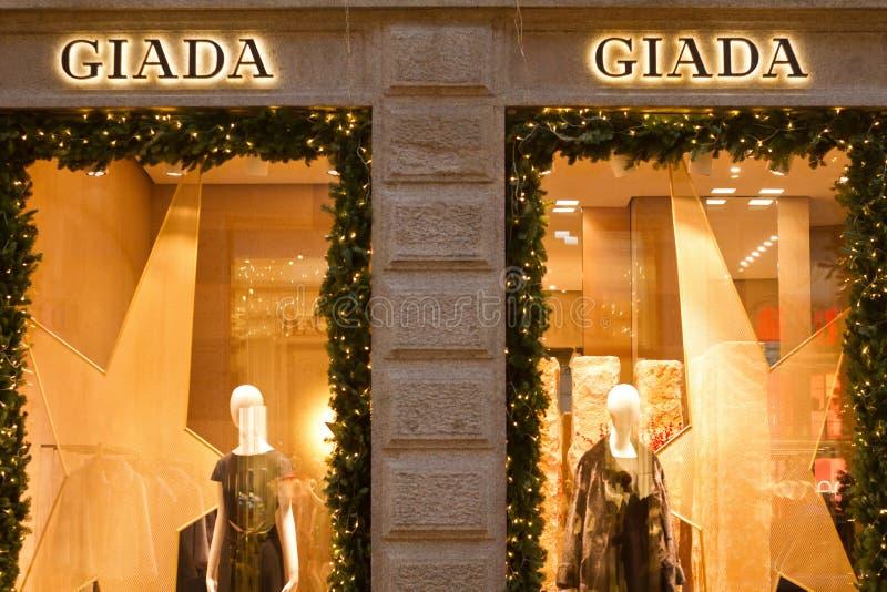 Quadrilatero dOro的Giada商店 免版税库存照片