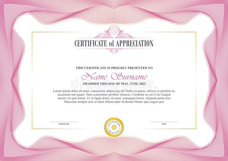 Quadro à moda do certificado com projeto da beira do Guilloche ilustração royalty free