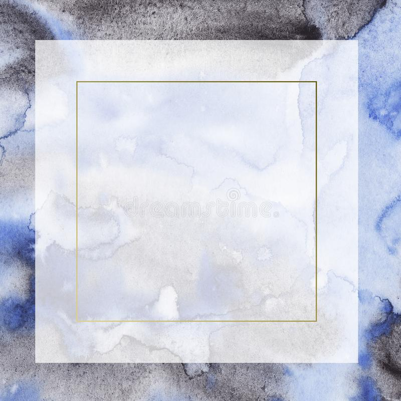 Quadro abstrato azul e preto da aquarela da beira com manchas e lavagens ilustração stock