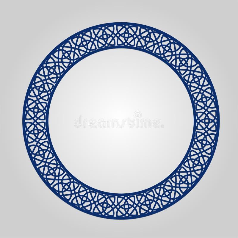 Quadro abstrato com redemoinhos, ornamento do círculo do vetor, quadro do vintage Pode ser usado lasercutting ilustração do vetor