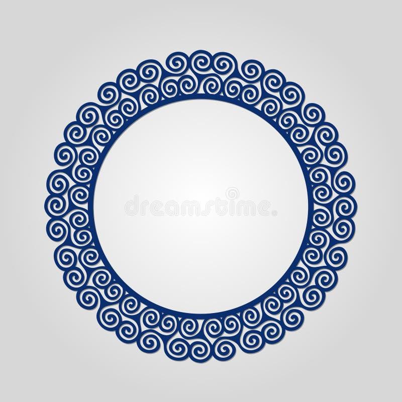 Quadro abstrato com redemoinhos, ornamento do círculo do vetor, quadro do vintage Pode ser usado lasercutting ilustração royalty free