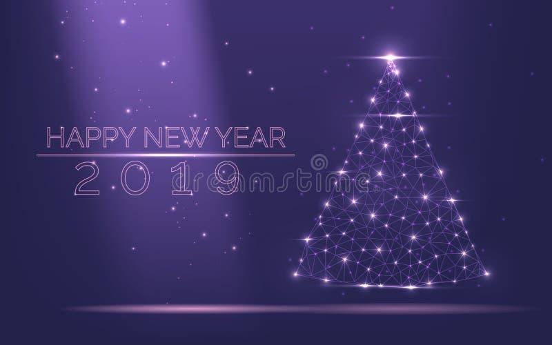 Quadro abstrato da árvore de Natal da luz brilhante das partículas em um fundo roxo popular como o símbolo do ano novo feliz, Chr ilustração do vetor