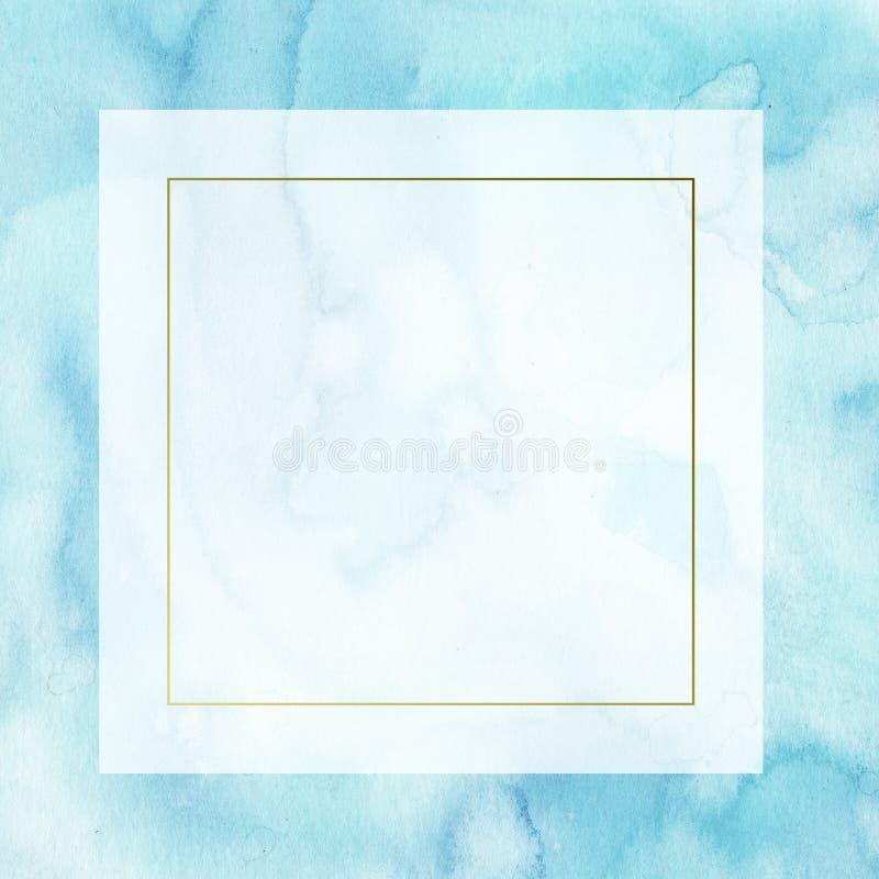 quadro abstrato da beira de turquesa da aquarela com manchas e lavagens aperfeiçoe para o convite do casamento do projeto, cumpri ilustração royalty free